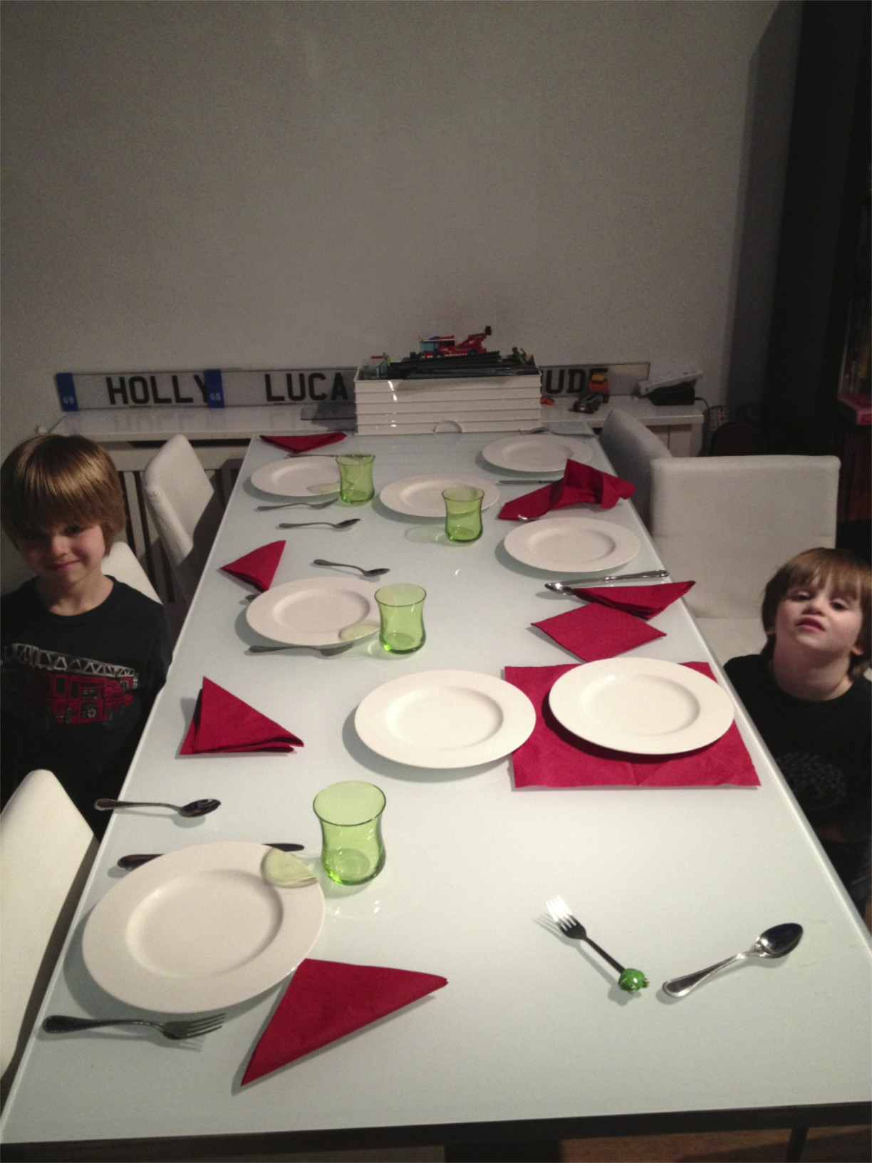 We found out what happens when you let 5 and 3 year old boys set the dinner table