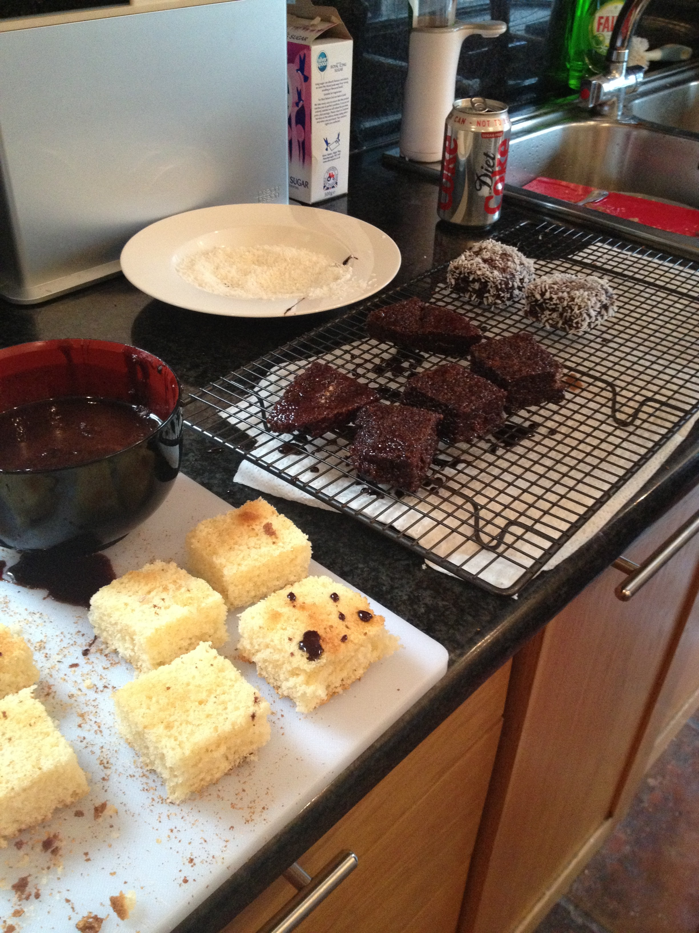 Historic moment: Lamington baking. I am more of a 'get-in-the-car-and-drive-to-the-shops' style of baker but lamingtons aren't easy to find in London so voila!
