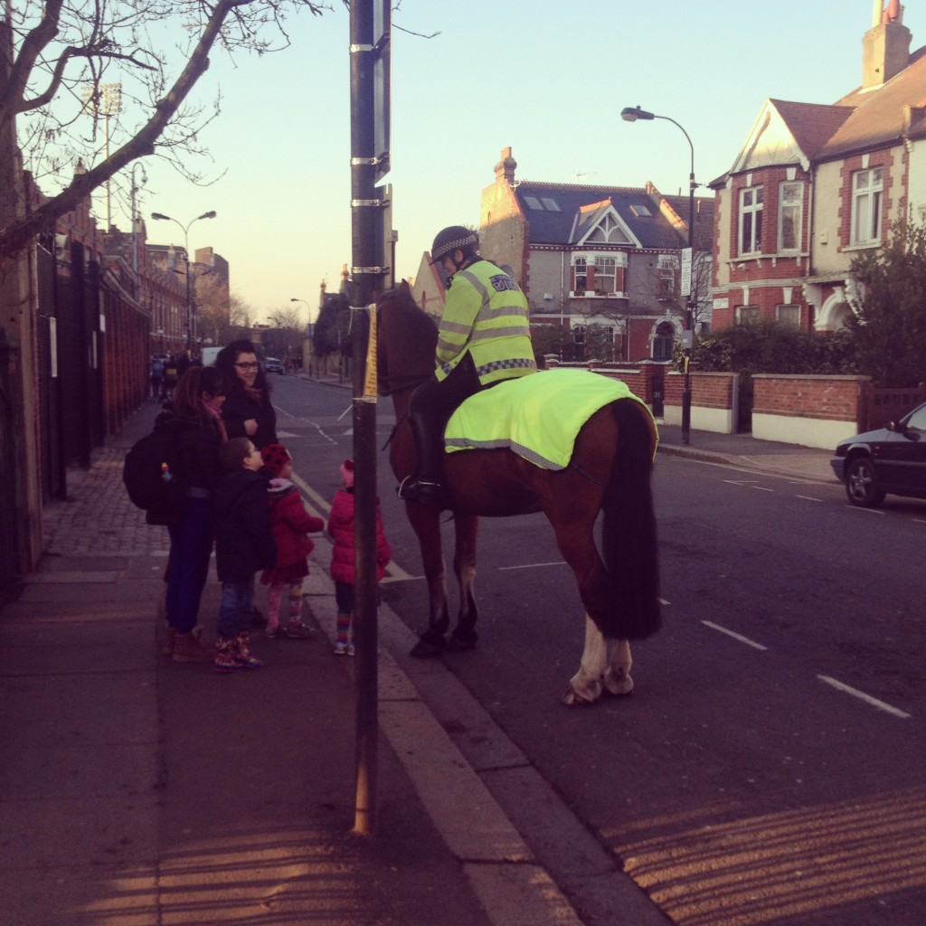I love how in the middle of London suburbia police horses still patrol