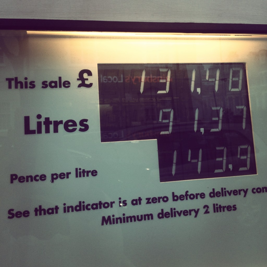 Possibly the only thing I won't miss about London is the cost of fuel. I feel sick for hours every time I fill the car up.