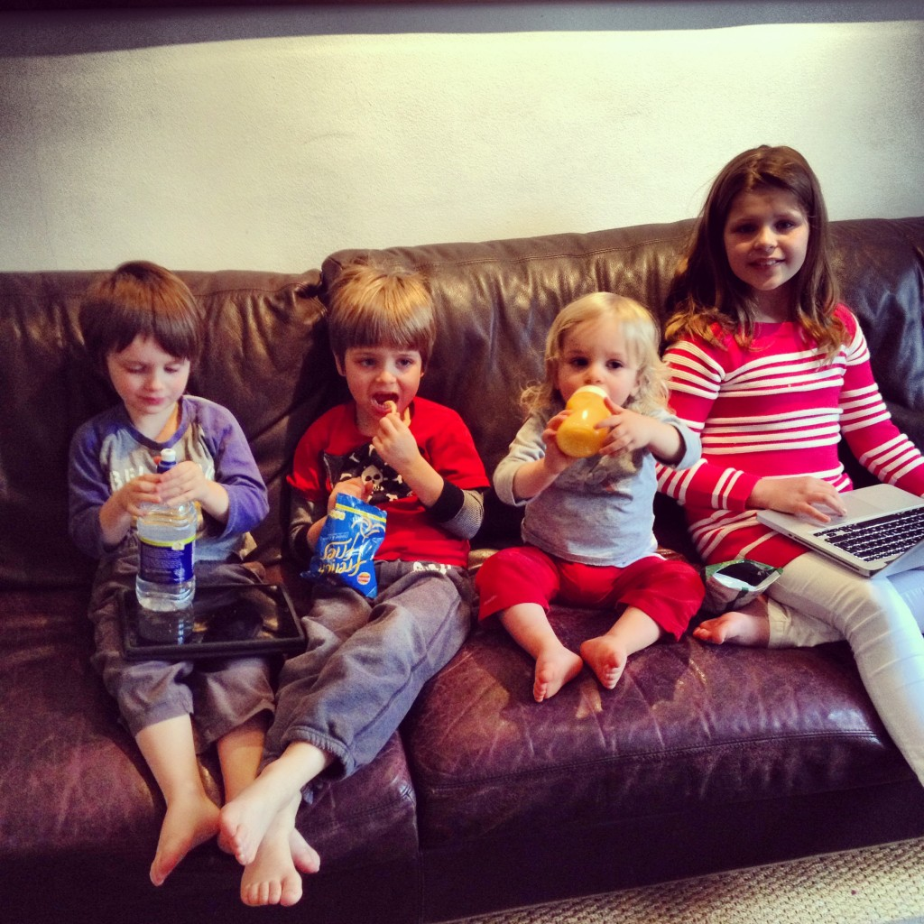 And on saturday I bribed the kids with chips for Luca & Charlie, my laptop for Holly and a bottle for Jude just so they would all sit together for a photo.