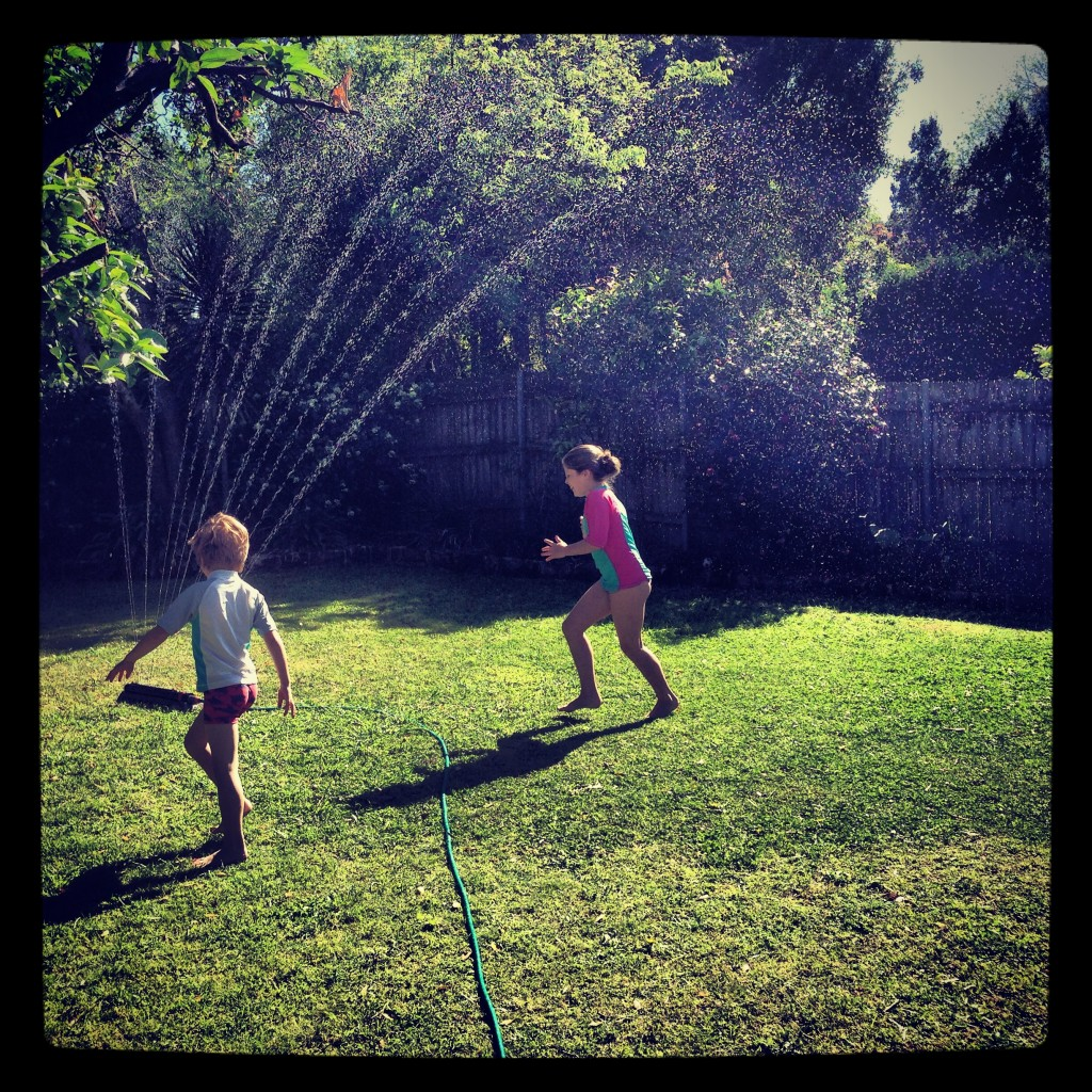 We had a few hot days so I introduced the kids to the sprinkler. I washed about 650 towels afterwards.