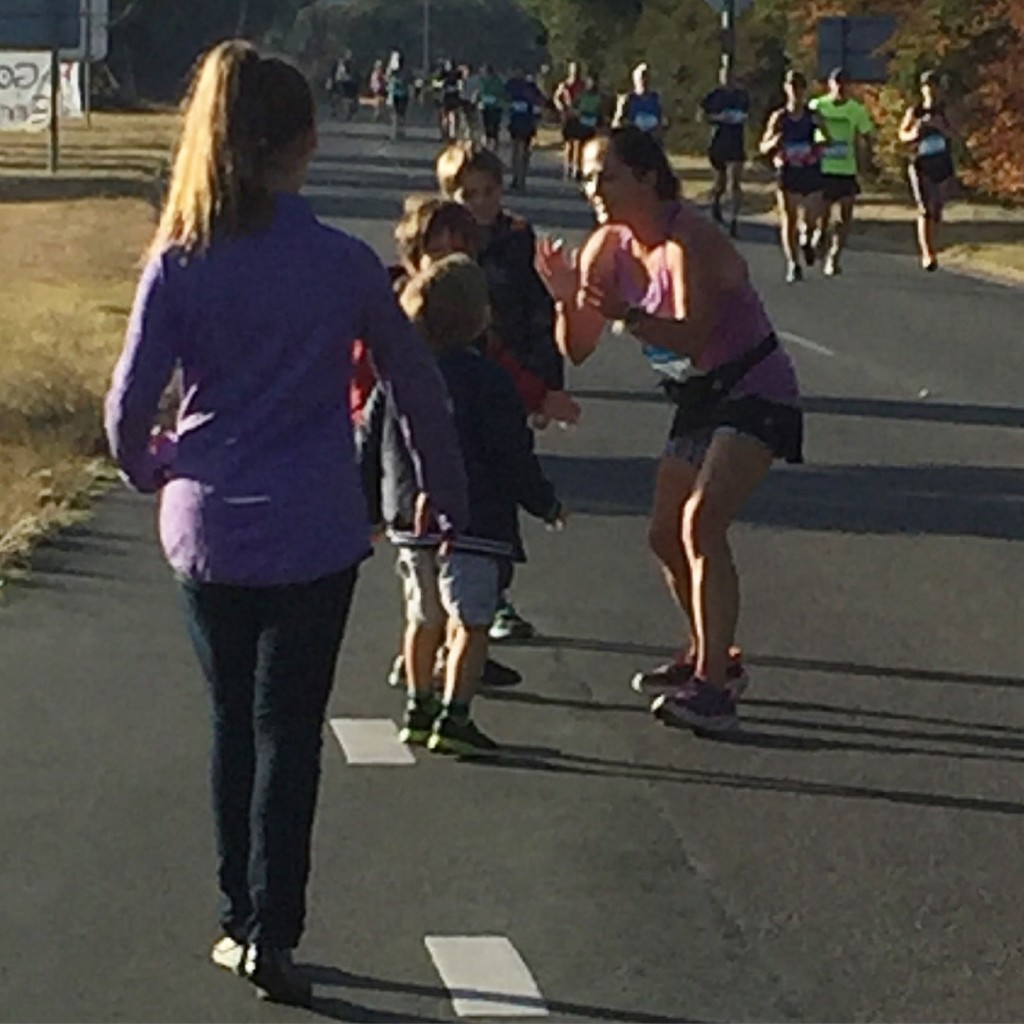 It's not often my kids get to come along and cheer me on thanks to my penchant for overseas marathons so it was so awesome to plant a big fat sweaty kiss on each of them along the course route.